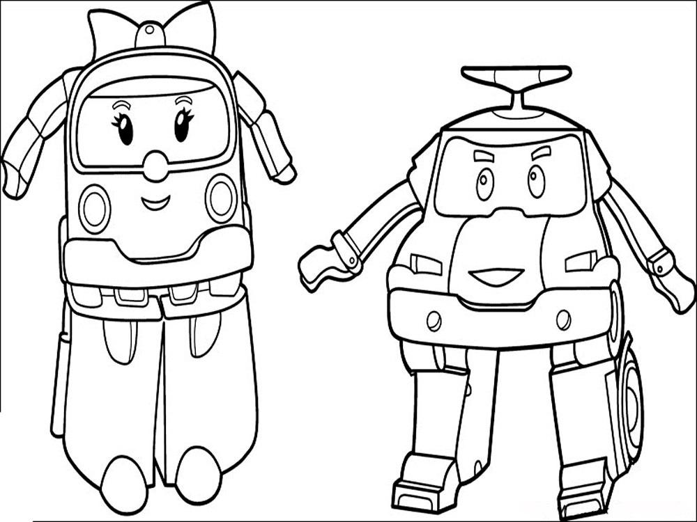 раскраски команда спасателей поли робокар, для детей 10