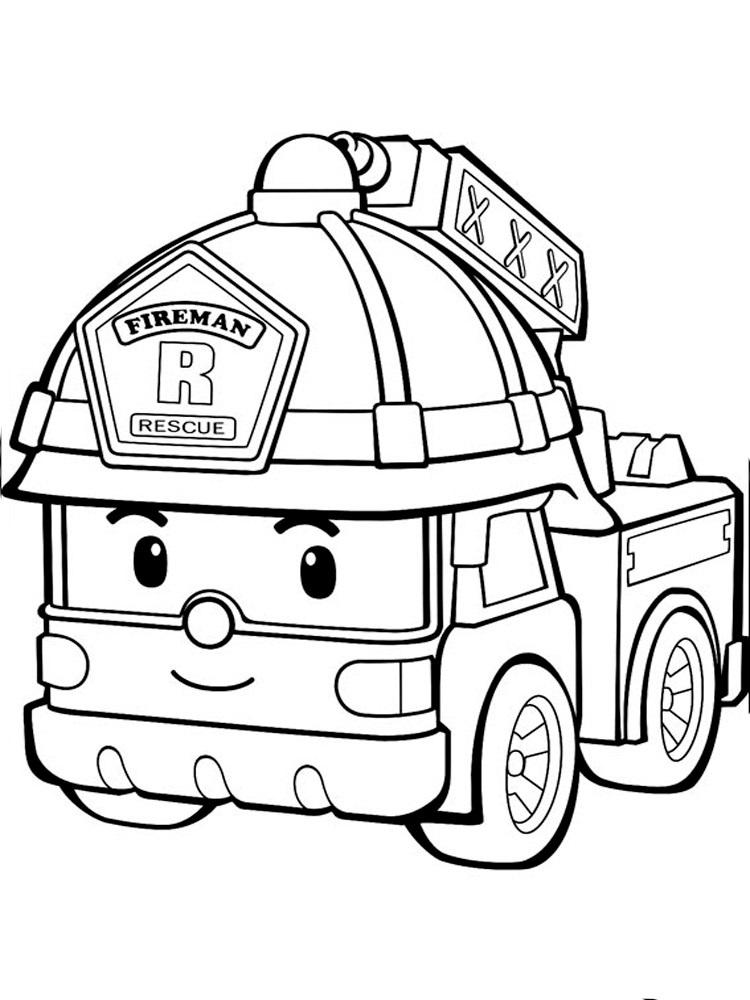 раскраски команда спасателей поли робокар, для детей 16