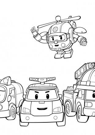 раскраски команда спасателей поли робокар, для детей 19