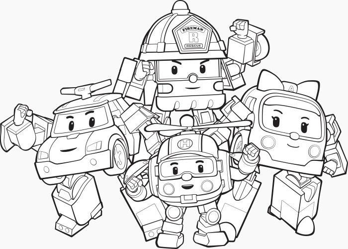 раскраски команда спасателей поли робокар, для детей 20