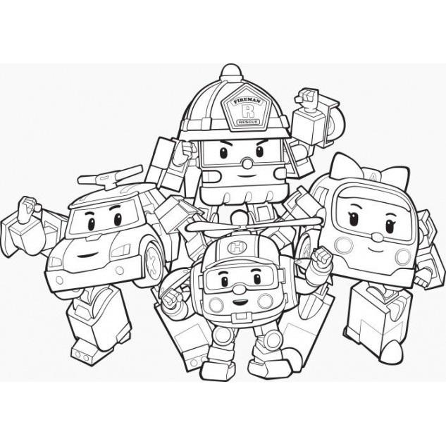 раскраски команда спасателей поли робокар, для детей 22