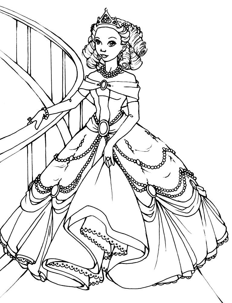 распечатать раскраски для девочек принцессы в красивых платьях 01