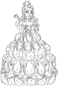 распечатать раскраски для девочек принцессы в красивых платьях 20