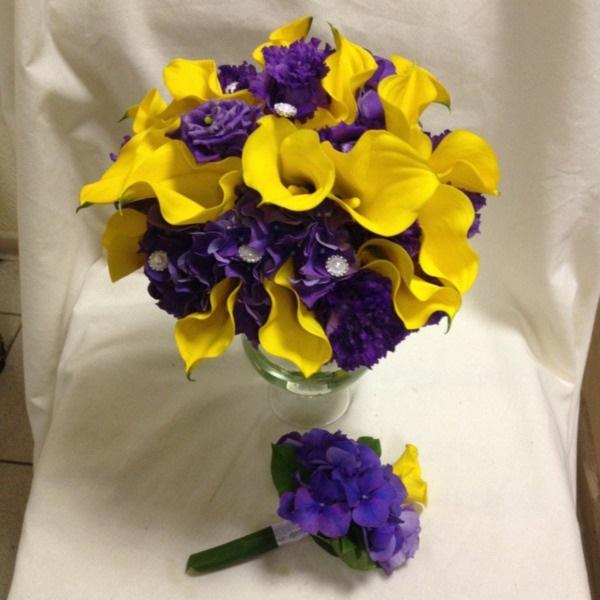 Красивые букеты желто фиолетовые   подборка фото (1)