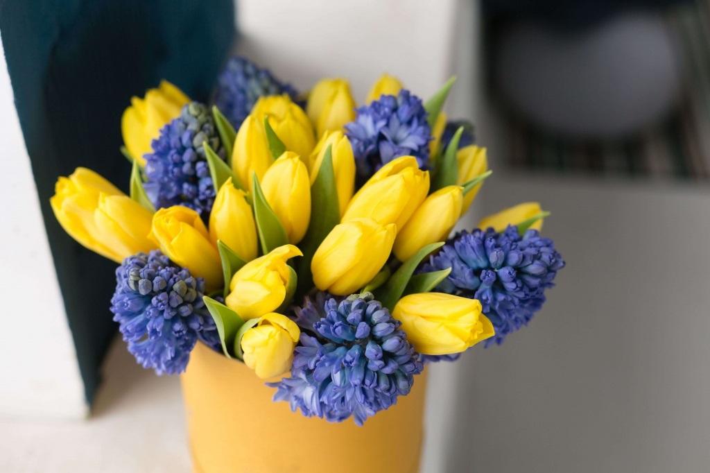 Красивые букеты желто фиолетовые   подборка фото (13)