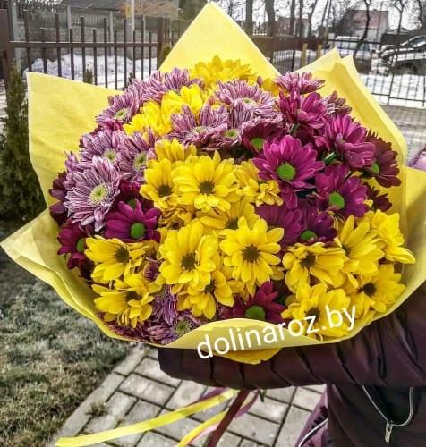 Красивые букеты желто фиолетовые   подборка фото (21)