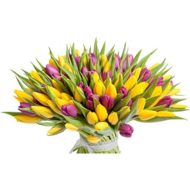 Красивые букеты желто фиолетовые   подборка фото (25)