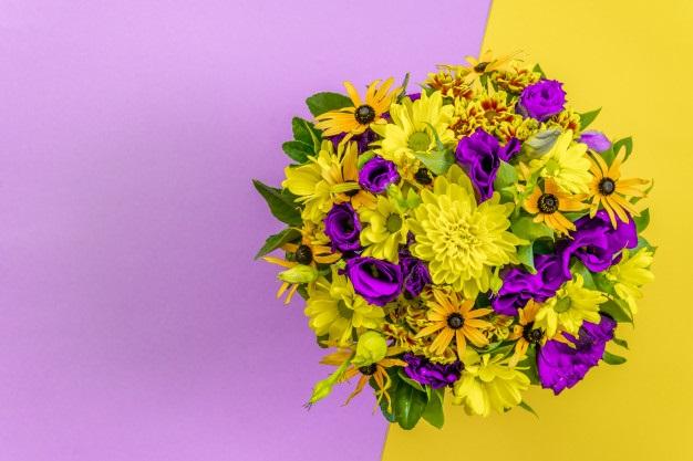 Красивые букеты желто фиолетовые   подборка фото (3)