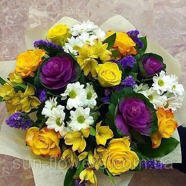 Красивые букеты желто фиолетовые   подборка фото (4)