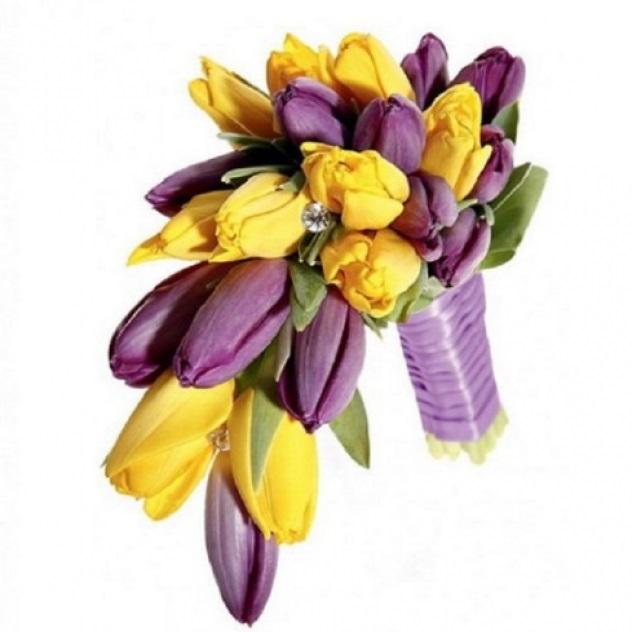 Красивые букеты желто фиолетовые   подборка фото (5)