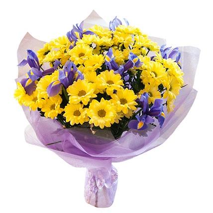 Красивые букеты желто фиолетовые   подборка фото (6)