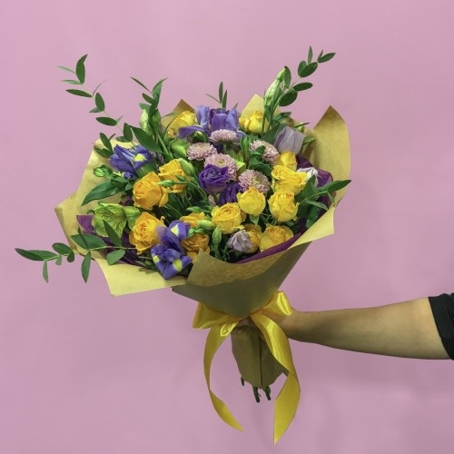 Красивые букеты желто фиолетовые   подборка фото (7)