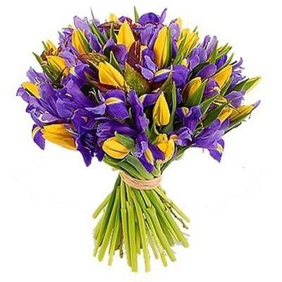 Красивые букеты желто фиолетовые   подборка фото (8)