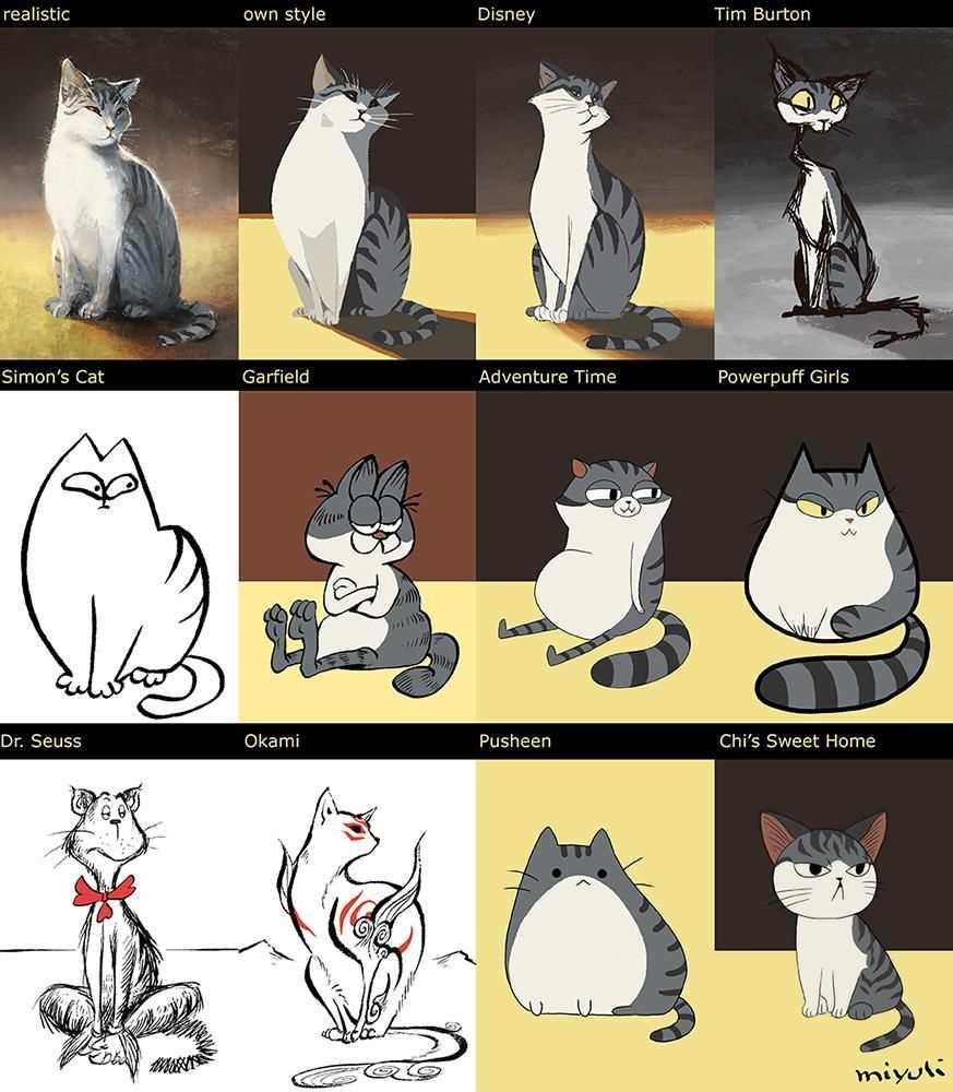 Картинки милые котики для рисования 08