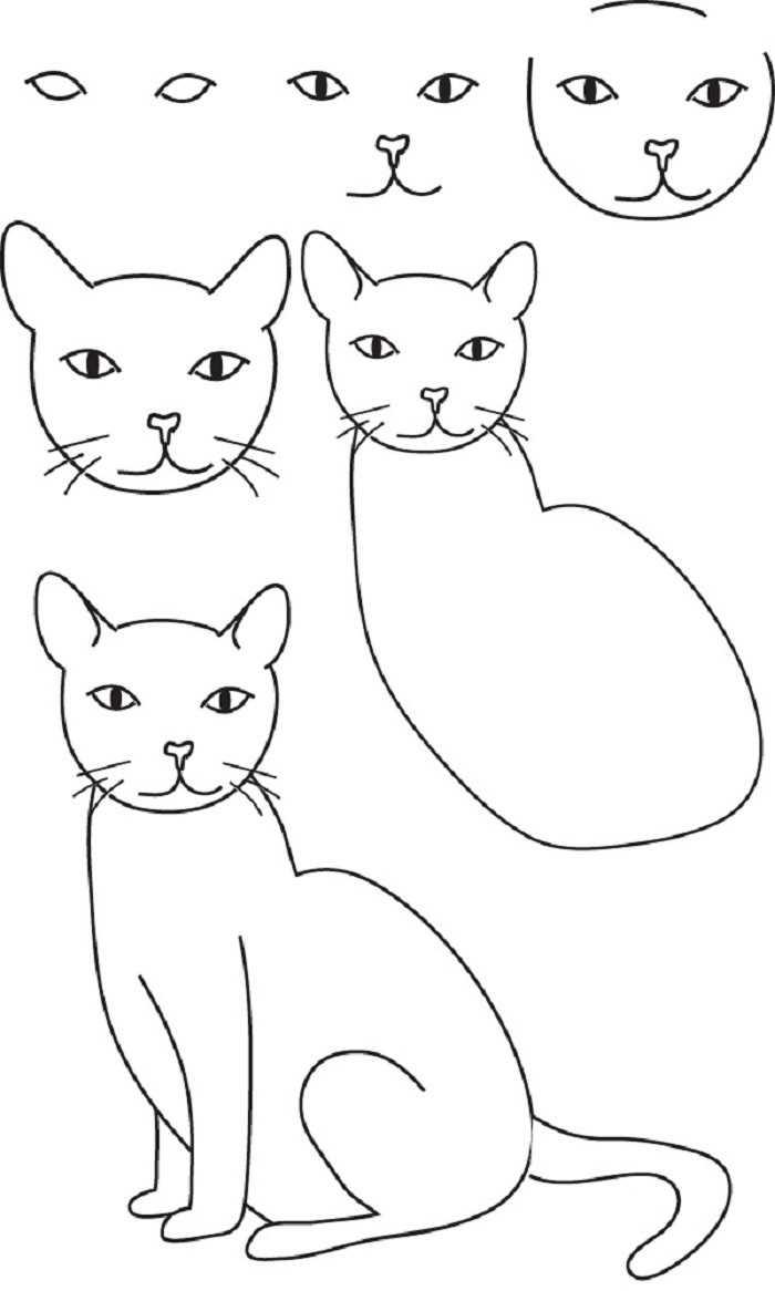 Картинки милые котики для рисования 11