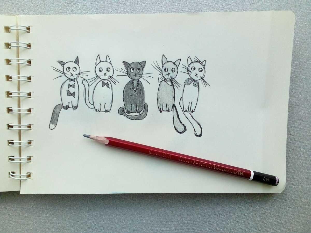Картинки милые котики для рисования 12