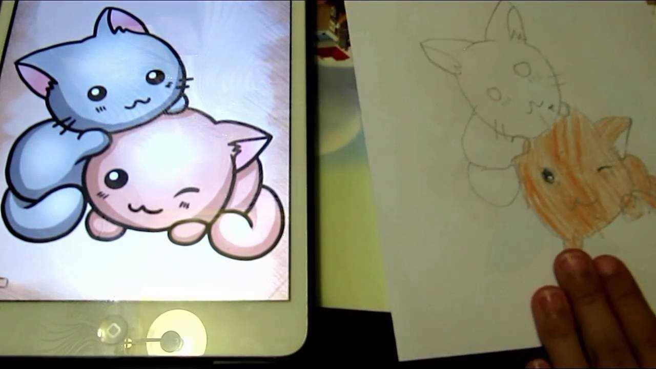 Картинки милые котики для рисования 18