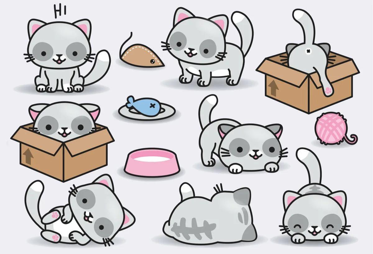 Картинки, рисунки милых котиков для срисовки 1