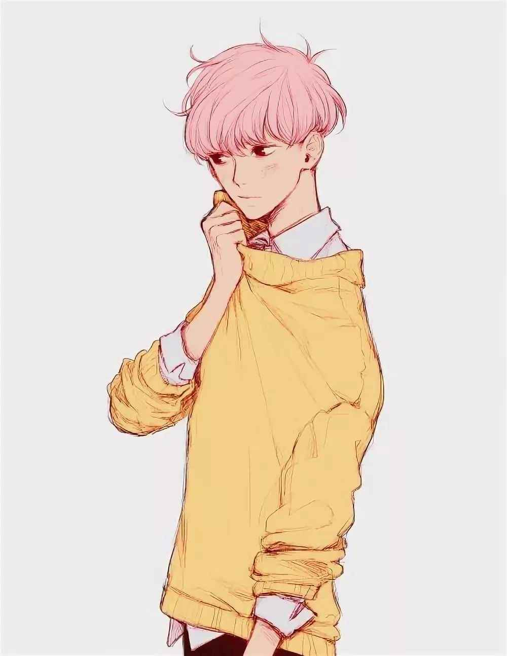 Красивые аниме арты парней с волосами 02