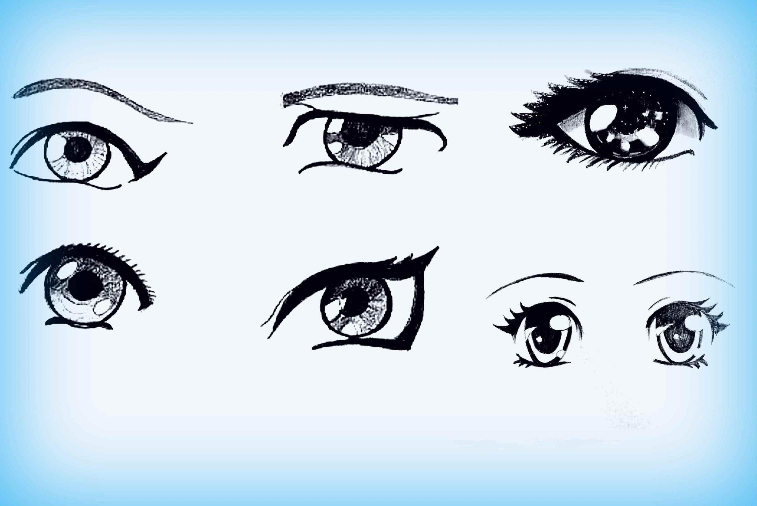 Красивые аниме глаза для срисовки, легкие 20