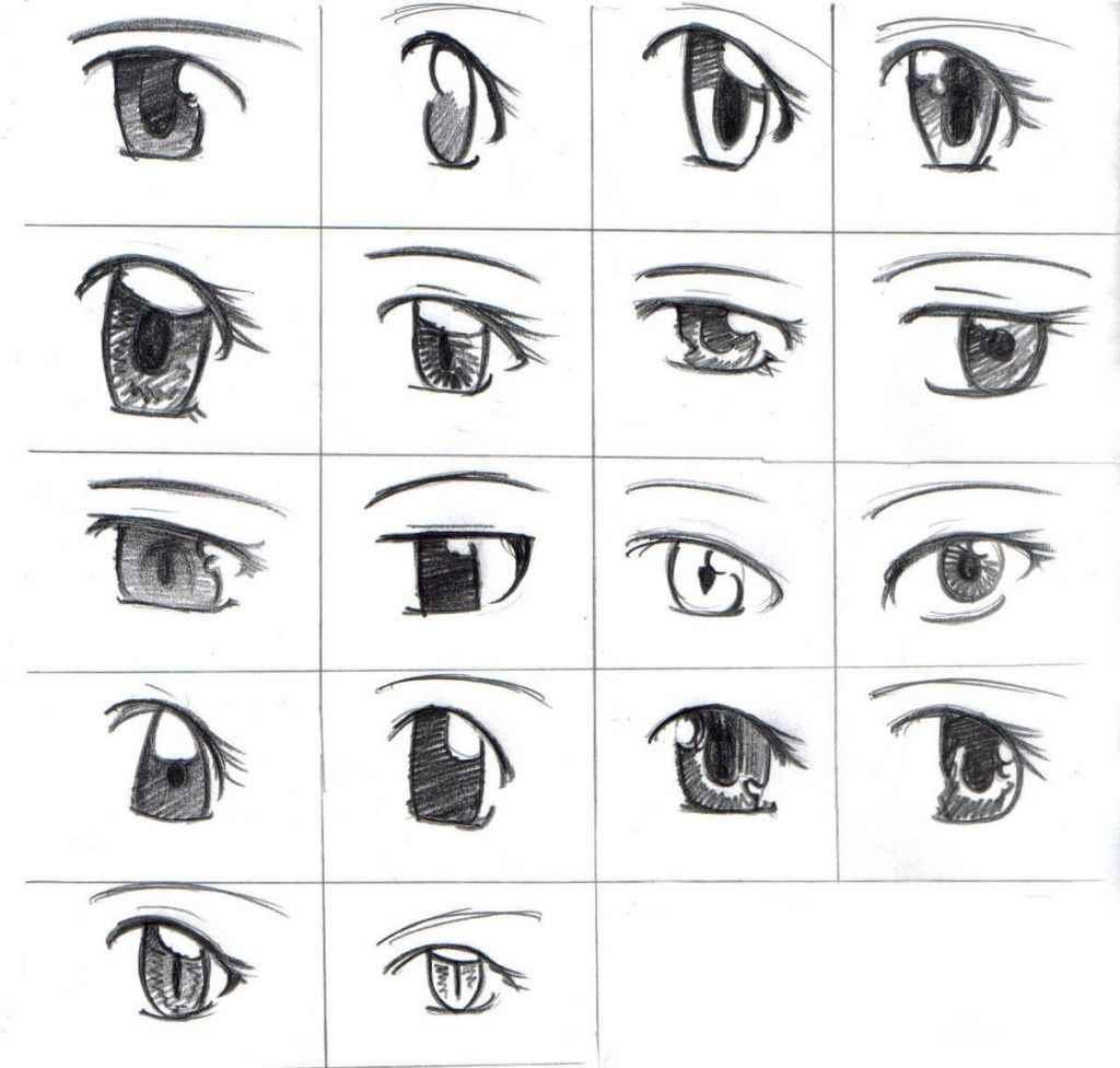 Красивые аниме глаза для срисовки, легкие 21