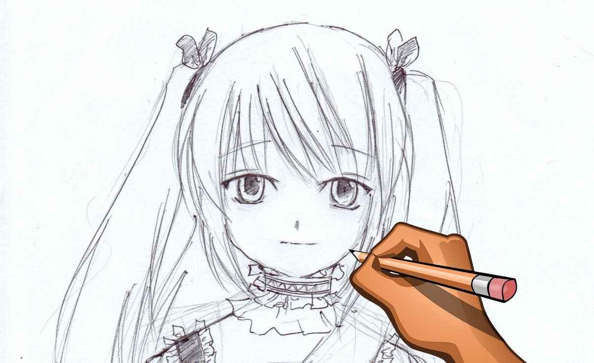 Красивые аниме девушки для срисовки, рисунки 04