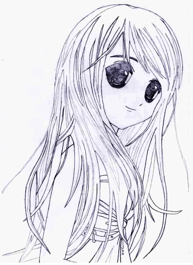 Красивые аниме девушки для срисовки, рисунки 06