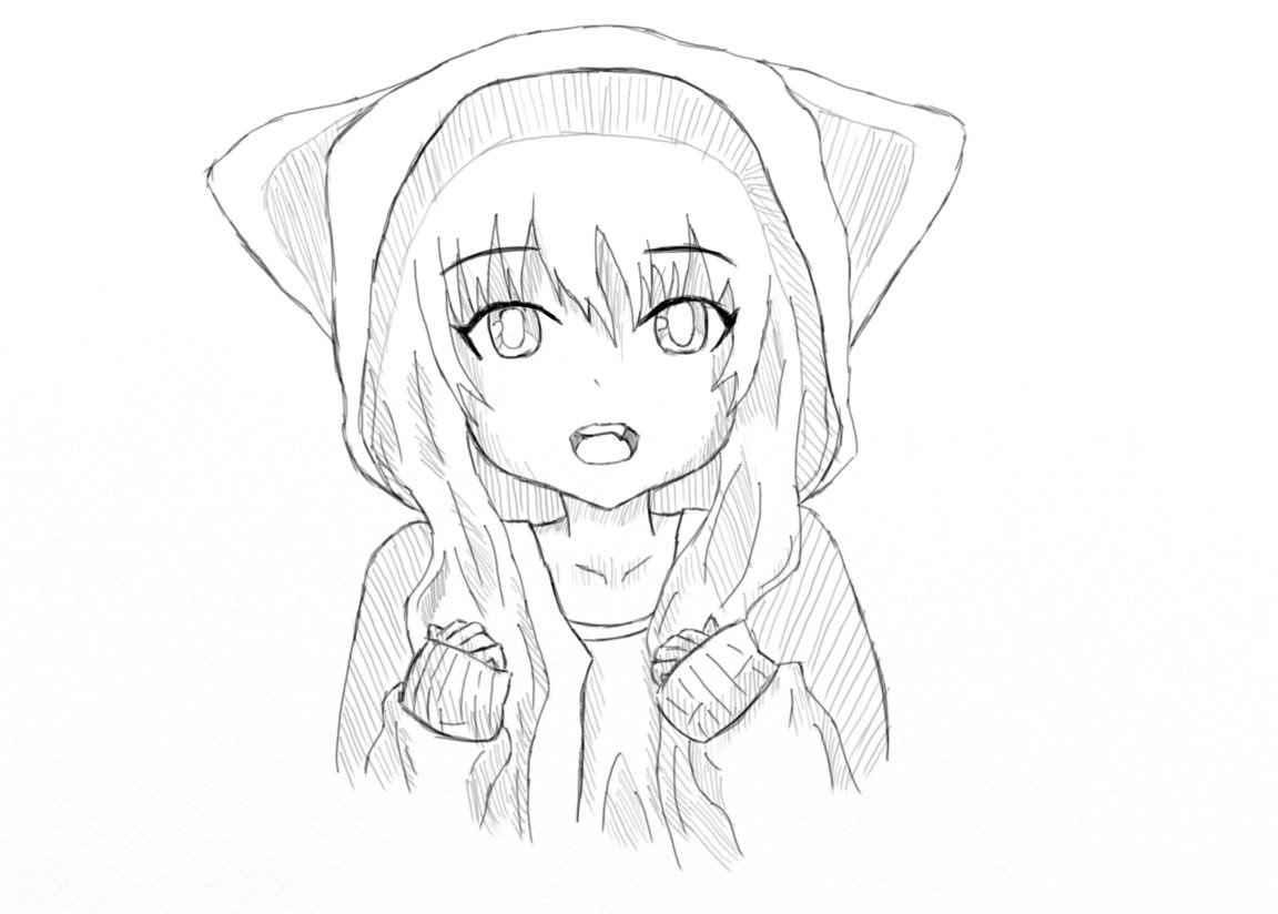 Красивые аниме девушки для срисовки, рисунки 11