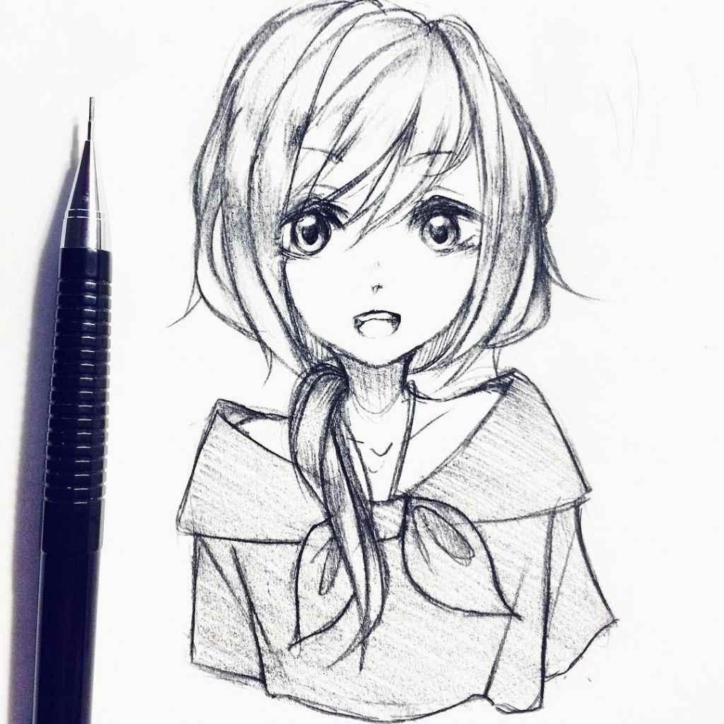 Красивые аниме девушки для срисовки, рисунки 15