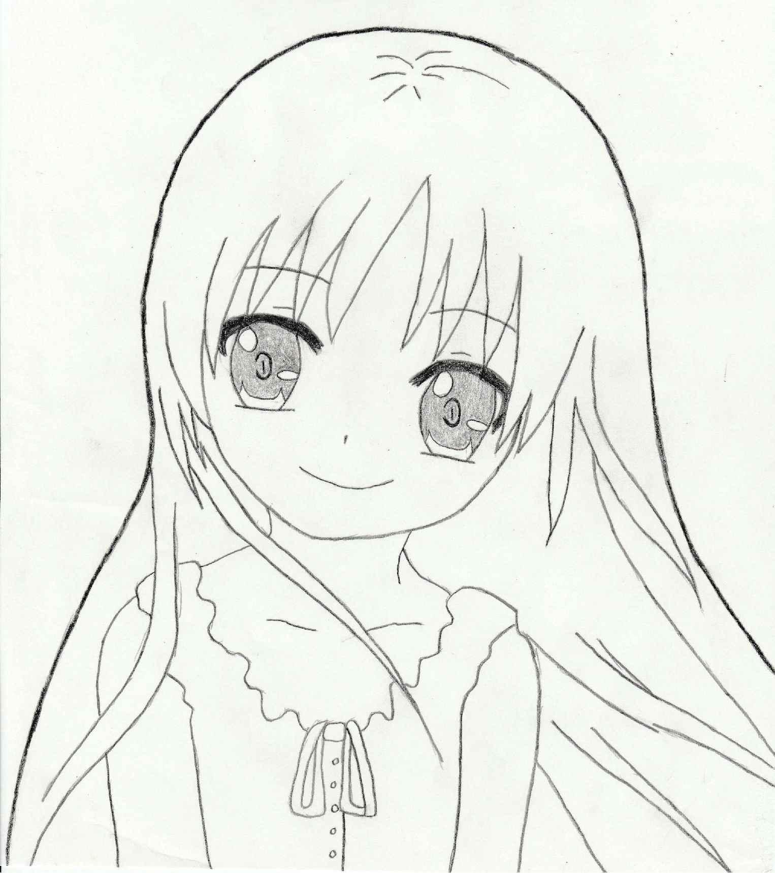 Красивые аниме девушки для срисовки, рисунки 16