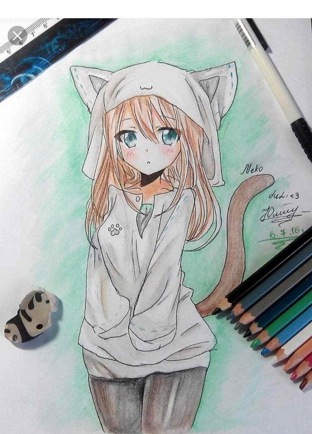 Красивые аниме девушки для срисовки, рисунки 17