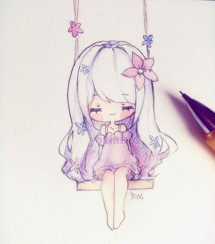 Красивые аниме девушки для срисовки, рисунки 19
