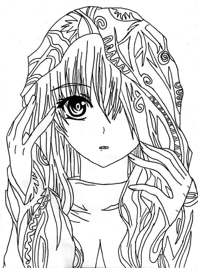 Красивые аниме девушки для срисовки, рисунки 20
