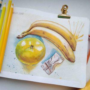 Красивые рисунки фрукты акварелью, лёгкие картинки 23