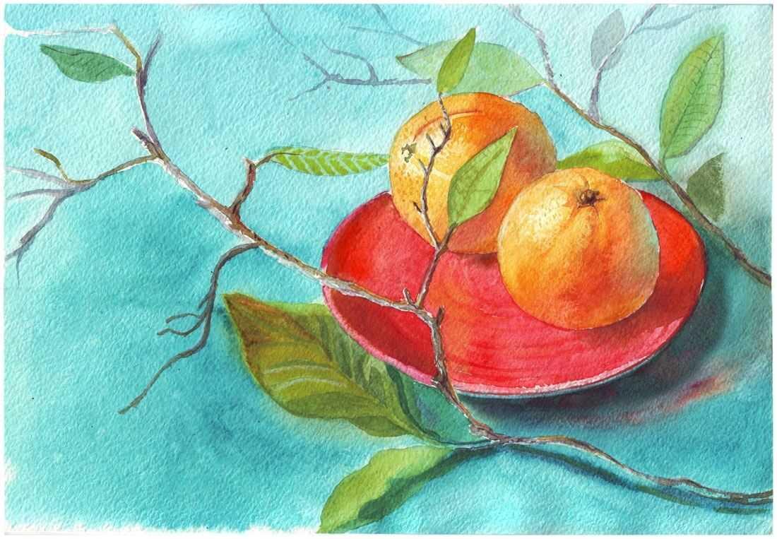 Красивый натюрморт рисунки фруктов 02