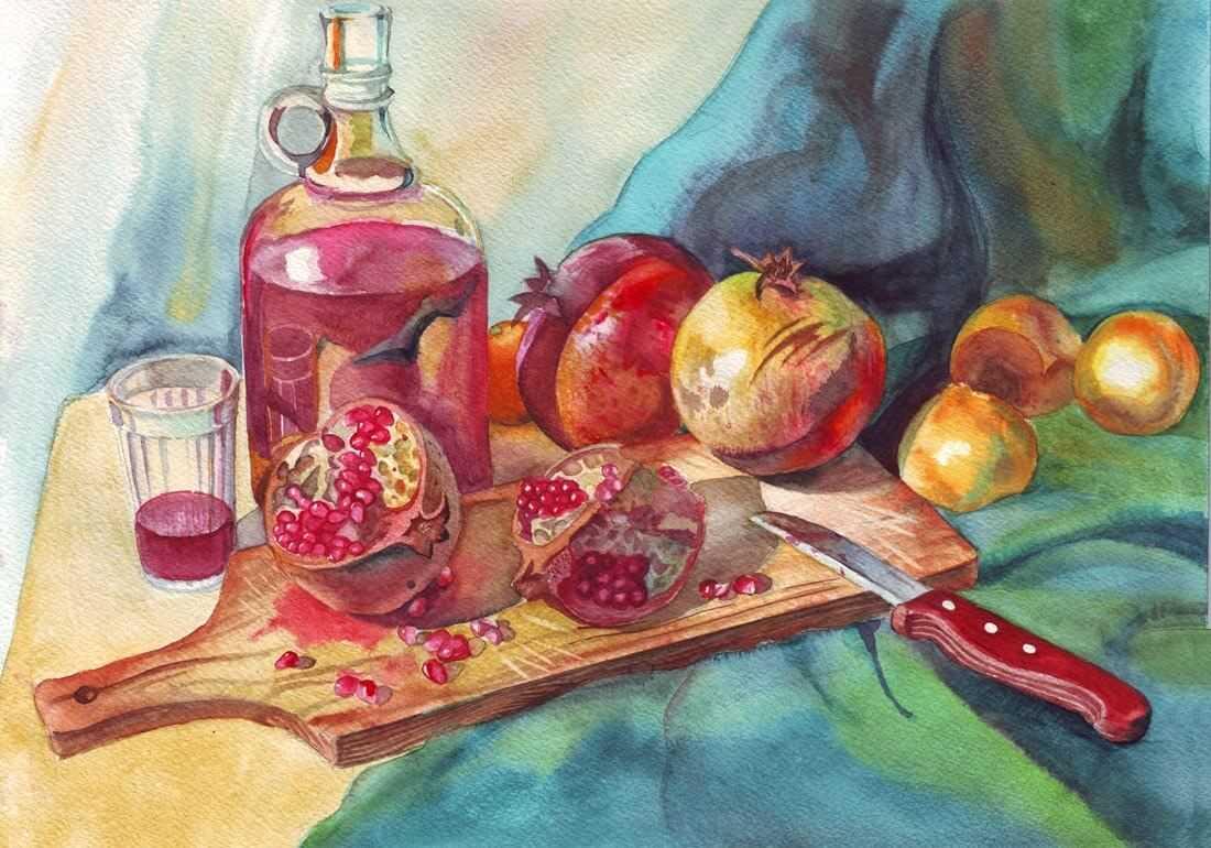Красивый натюрморт рисунки фруктов 03