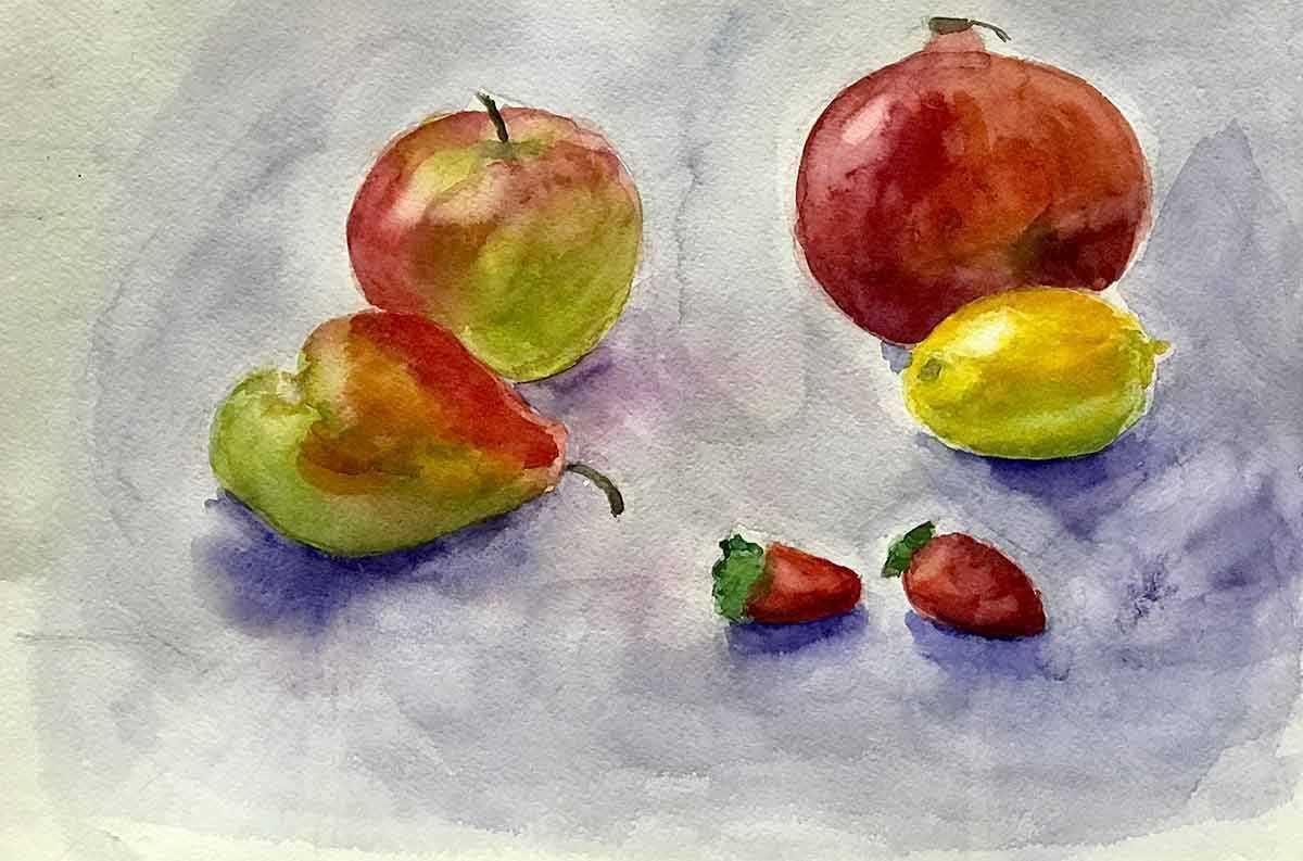 Красивый натюрморт рисунки фруктов 05