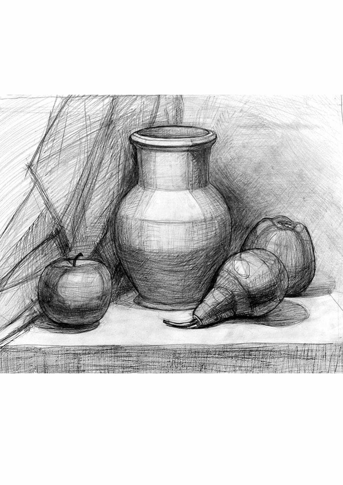 Красивый натюрморт рисунки фруктов 07