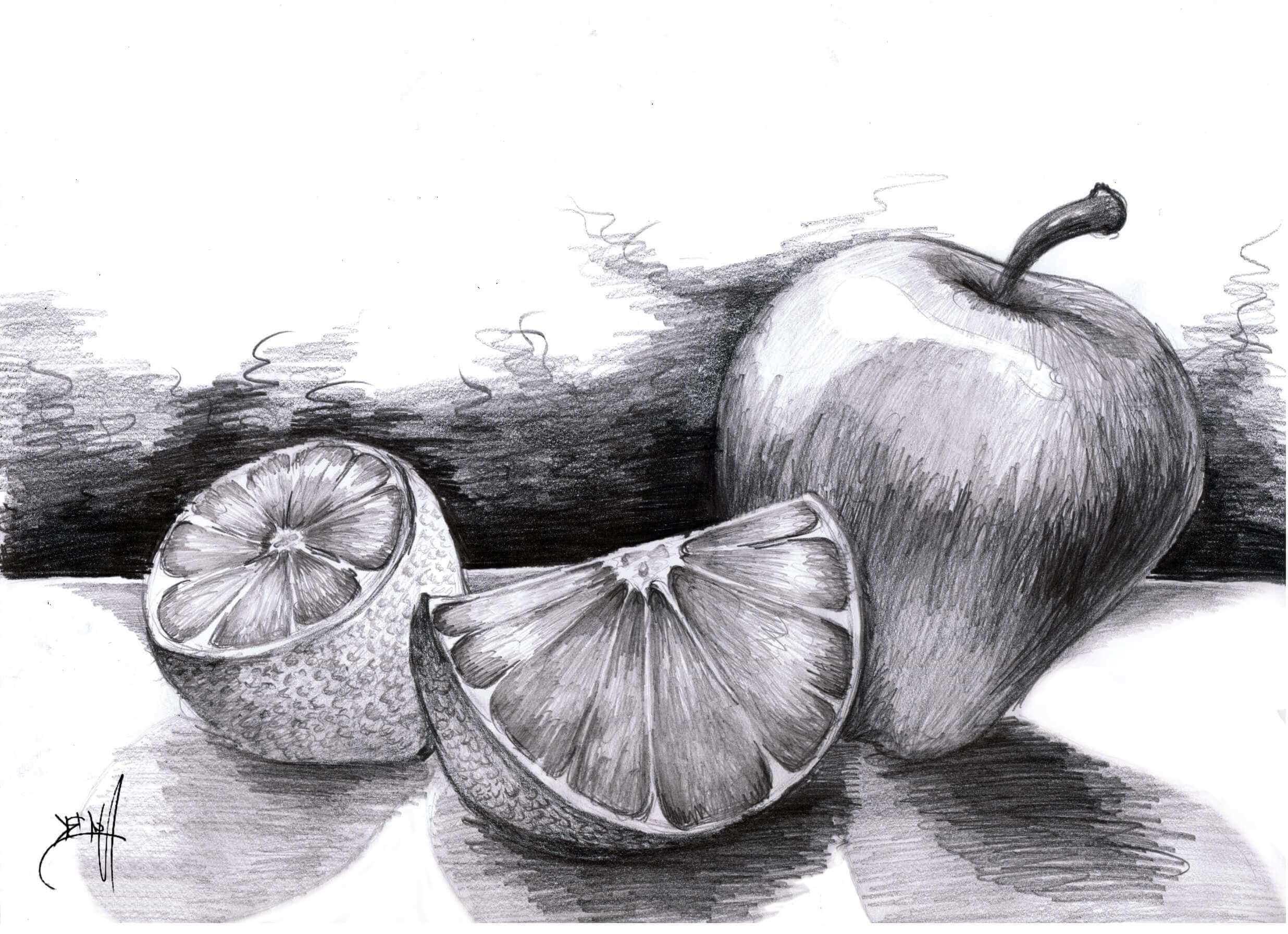 Красивый натюрморт рисунки фруктов 08