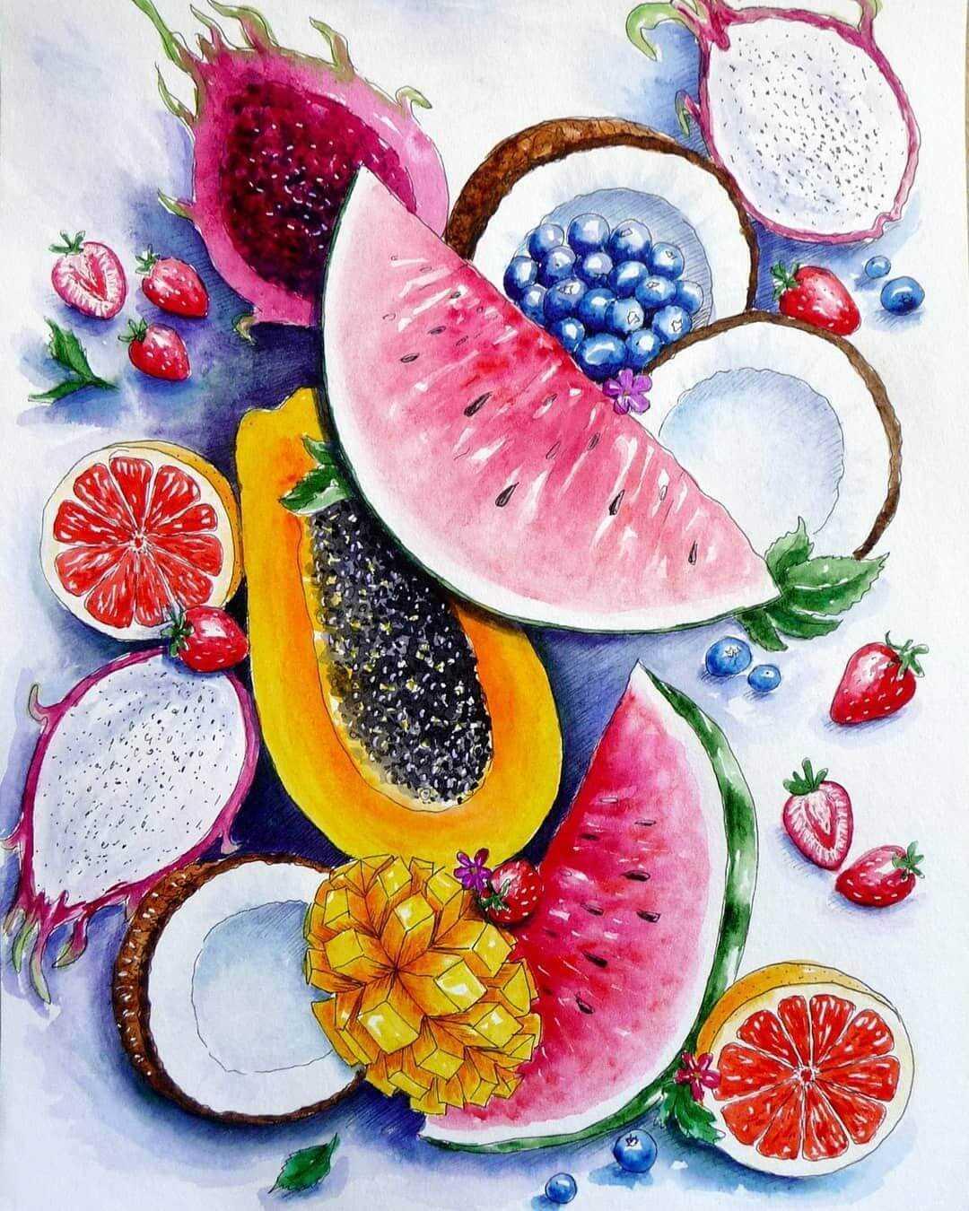 Красивый натюрморт рисунки фруктов 13