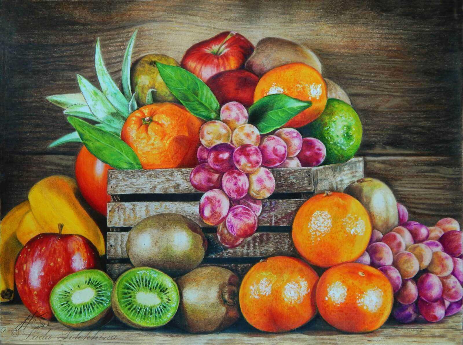 Красивый натюрморт рисунки фруктов 21