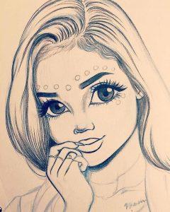 Милые рисунки девочек карандашом, картинки 24