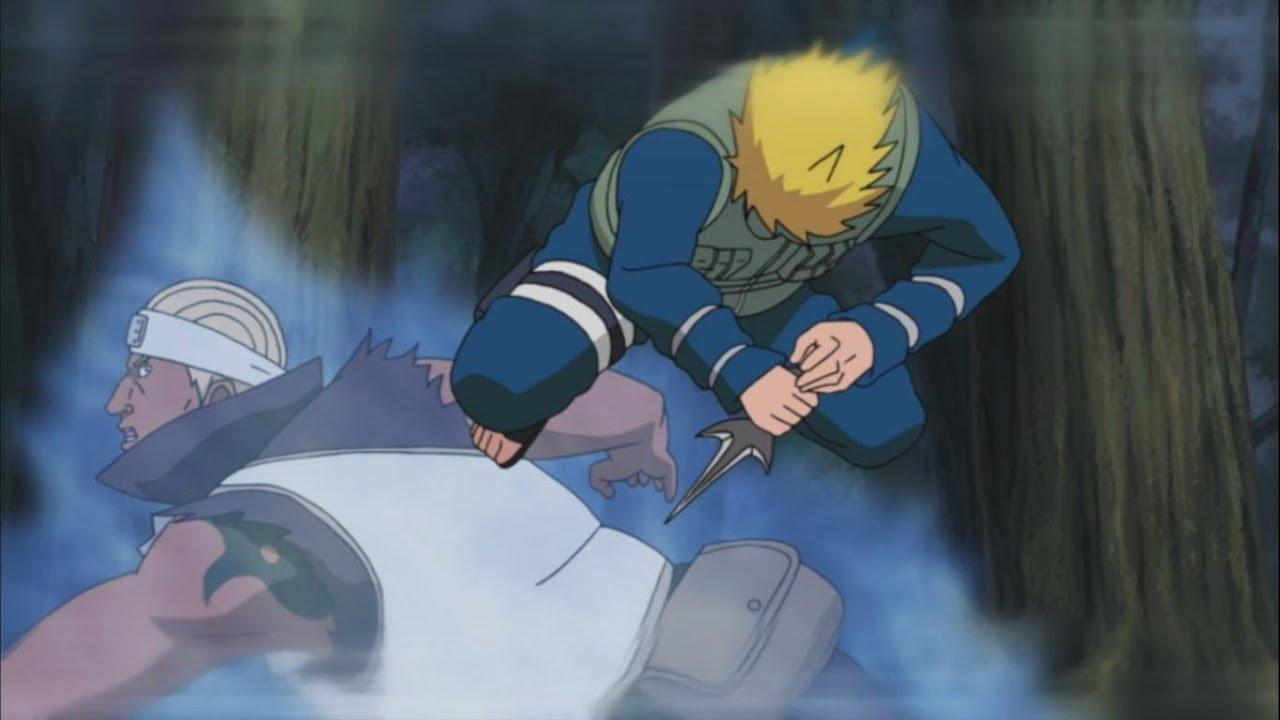 Минато использовал способность летающий бог грома оказавшись за спиной противника