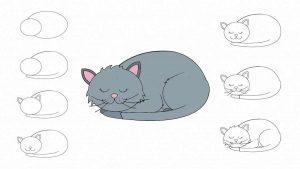 Простой рисунок кота карандашом, картинки 24