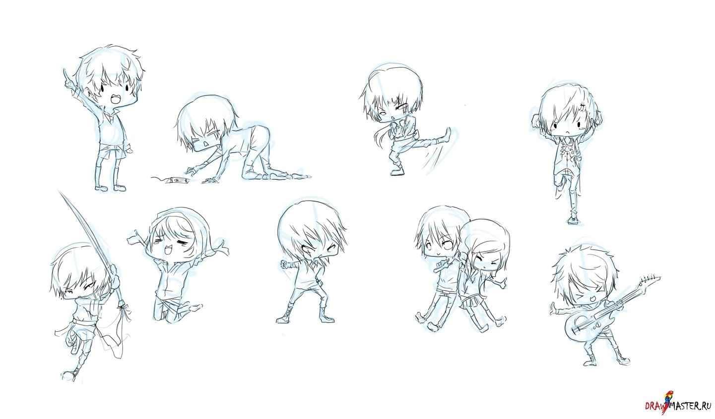 Простые аниме позы для срисовки, рисунки 04
