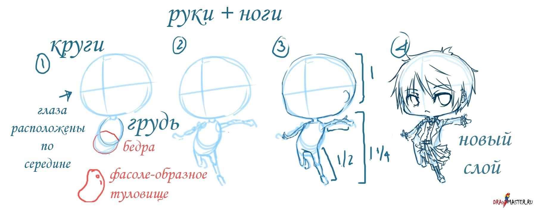 Простые аниме позы для срисовки, рисунки 08