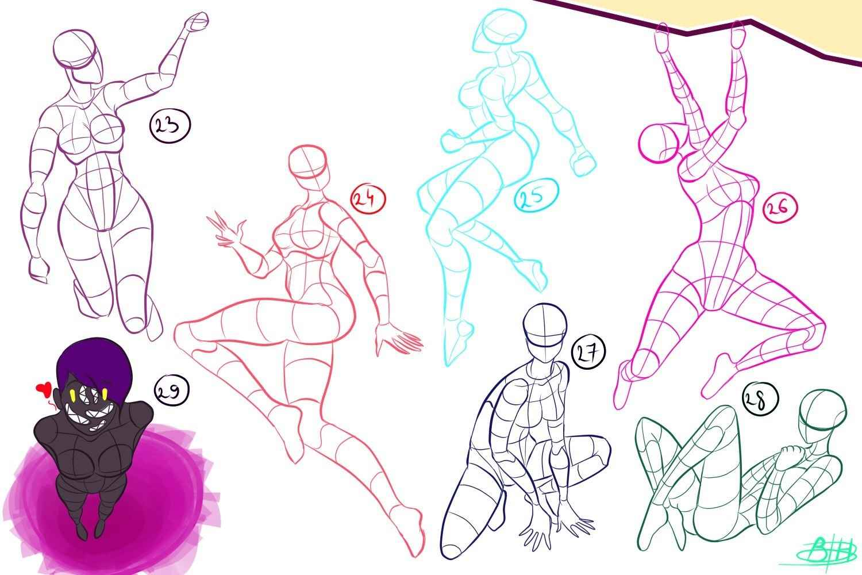 Простые аниме позы для срисовки, рисунки 12