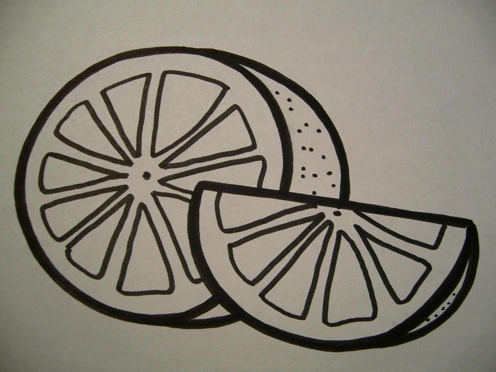 Рисунок Половинка апельсина для срисовки 02