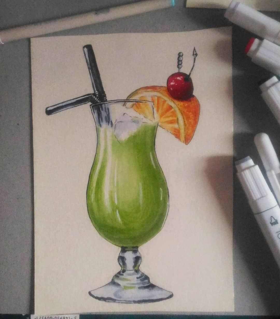 Рисунок Половинка апельсина для срисовки 03