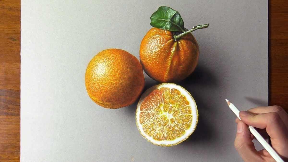 Рисунок Половинка апельсина для срисовки 04
